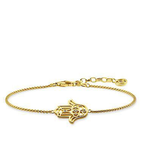 Picture of Gold and Diamond Hand Of Fatima Bracelet