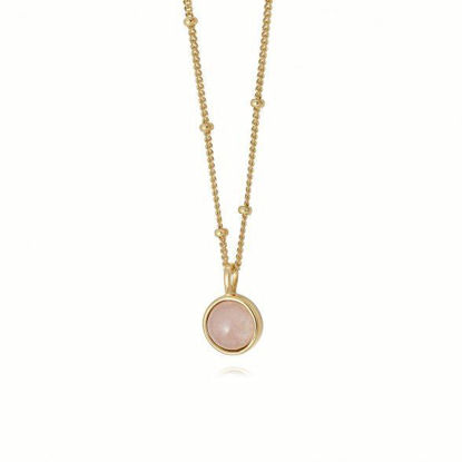 Picture of Rose Quartz Healing Stone Necklace 18Ct Gold Plate