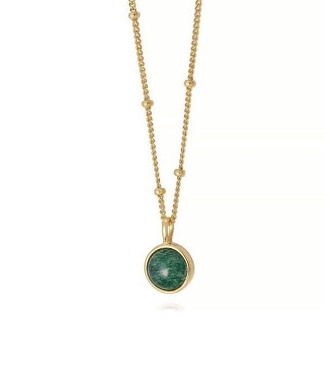 Picture of Green Aventurine Healing Stone Necklace 18Ct Gold Plate