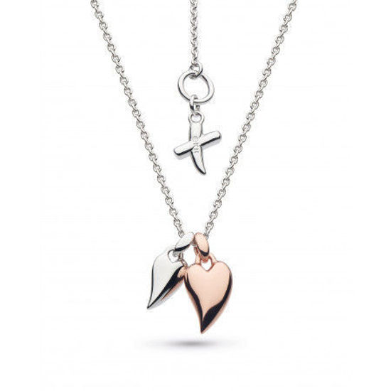 Picture of Kit Heath Kit Heath Desire Kiss Twinned Mini Hearts Sterling Silver & Rose Gold Plate Necklace