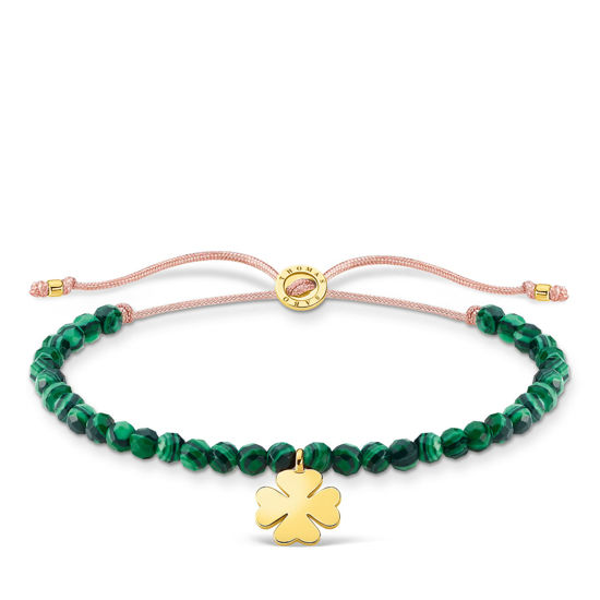 Picture of Green Pearl Beaded Bracelet with Gold Clover
