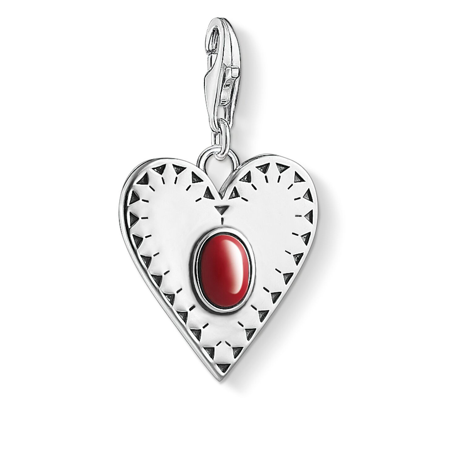 Picture of Heart with Red Stone Charm