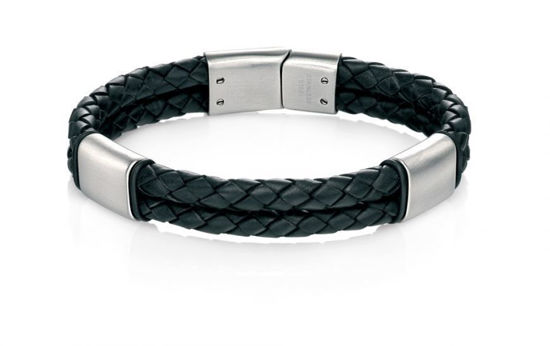 Picture of Black Leather Bracelet With Brush Finish