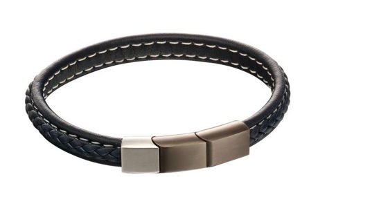 Picture of Plait Mixed Brushed Finish Navy Leather Bracelet