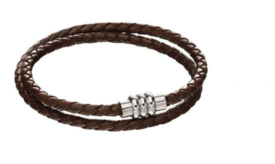 Picture of Section Tube Clasp Brown Knot Leather Bracelet
