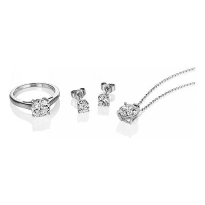 Picture of 2ct Ear Studs, Necklace and Ring Set
