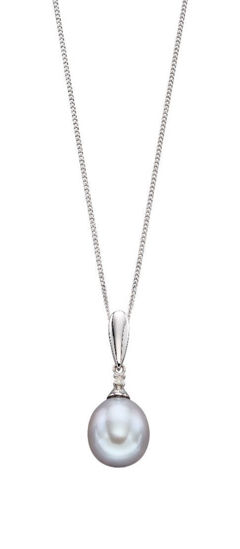 Picture of Grey Pearl and Diamond Necklace