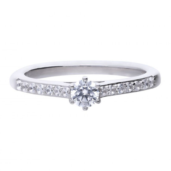 Picture of Solitaire Ring with Pave Shoulders