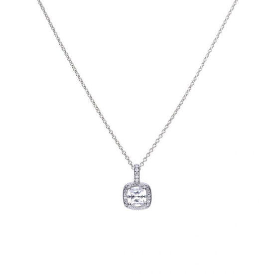 Picture of Square 1.36 Ct Solitaire And Pave Set Pendant With Dimonfire Cubic Zirconia