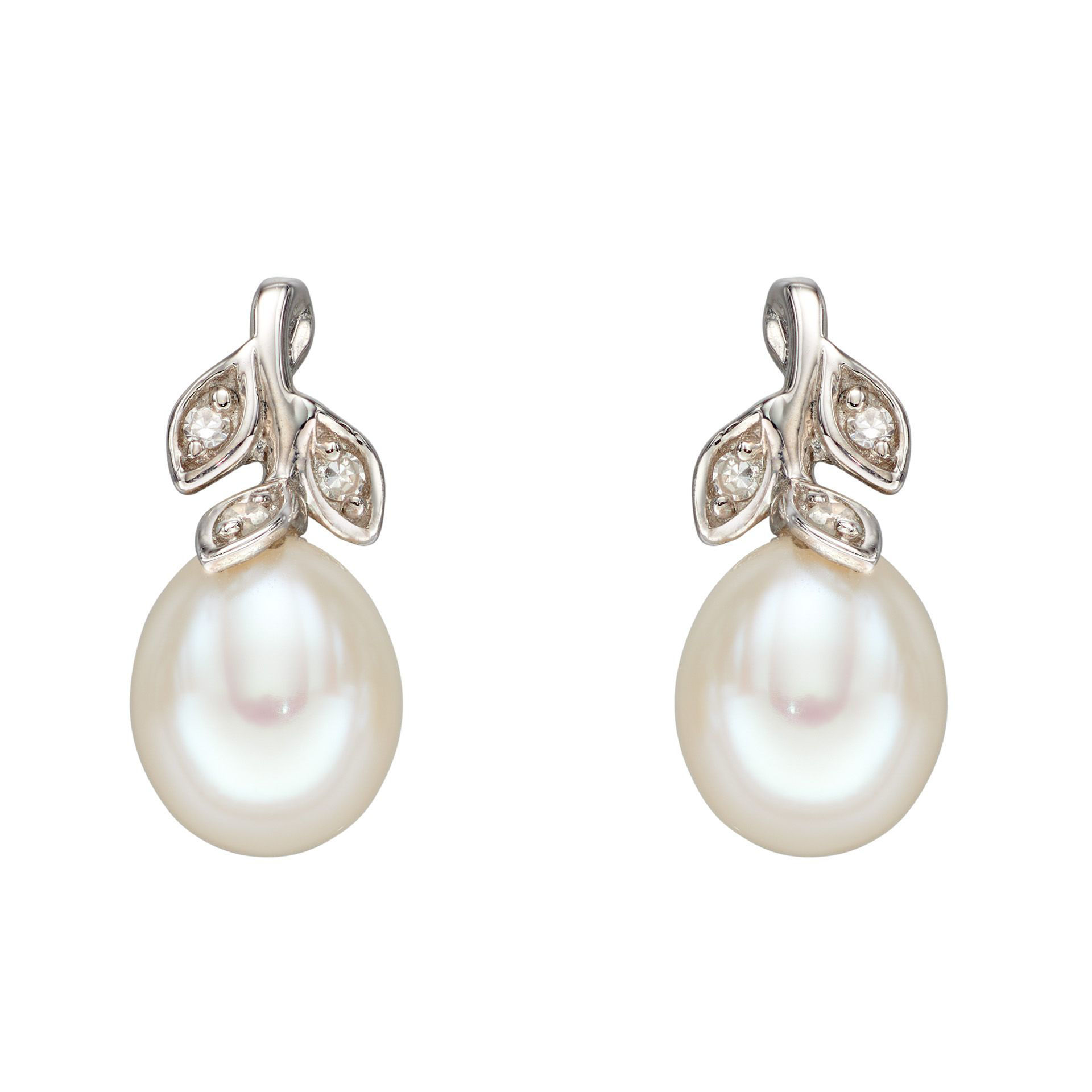 Picture of Pearl and Diamond Leaf Design Earrings