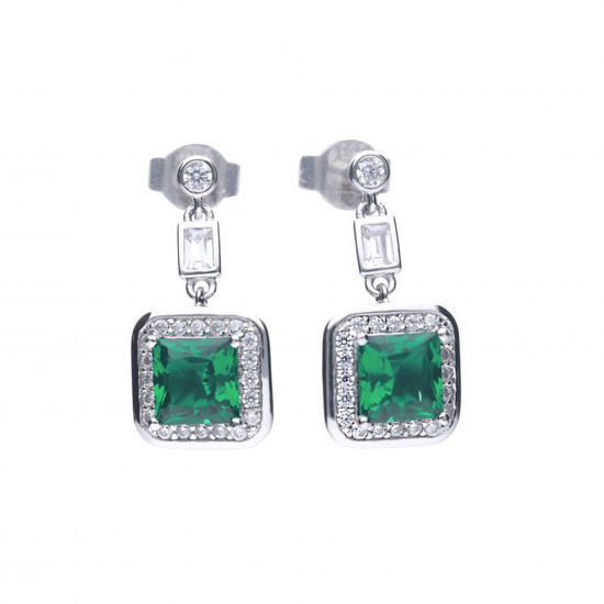 Picture of Art Deco Style Emerald Pave Earrings