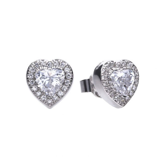 Picture of Heart Pave Set Stud Earrings