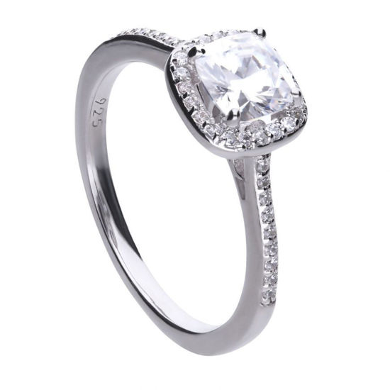 Picture of Square Solitaire And Pave Set Ring
