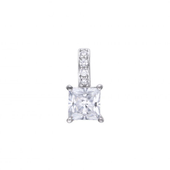Picture of Princess Cut Pendant With Pave Bale