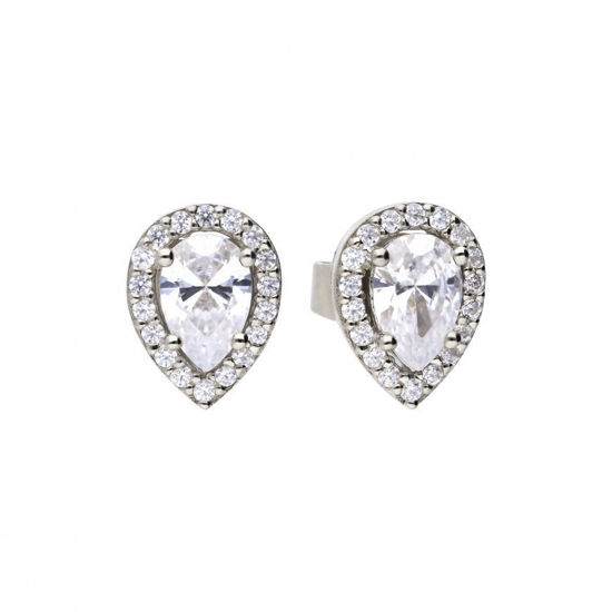 Picture of Teardrop Halo Stud Earrings