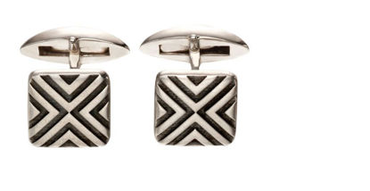 Picture of Sterling Silver Oxidised Linear Cufflinks
