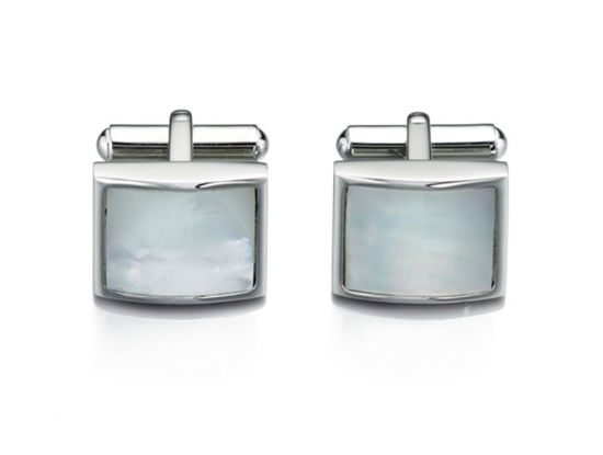 Picture of Stainless Steel White Mother Of Pearl Cufflink