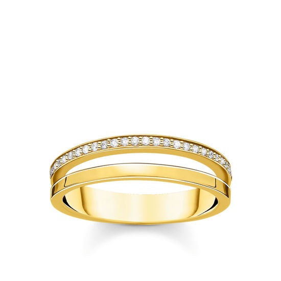 Picture of Double Band with Cubic Zirconia Gold Ring