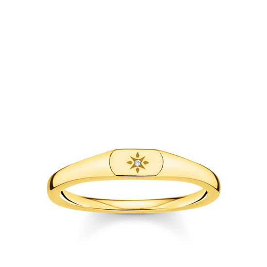 Picture of Small Star Signet Ring in Gold