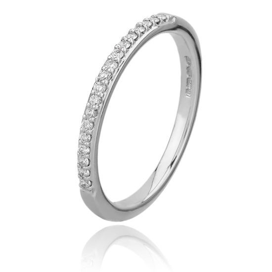 Picture of Platinum 2mm Narrow Pavé-set Diamond Ring