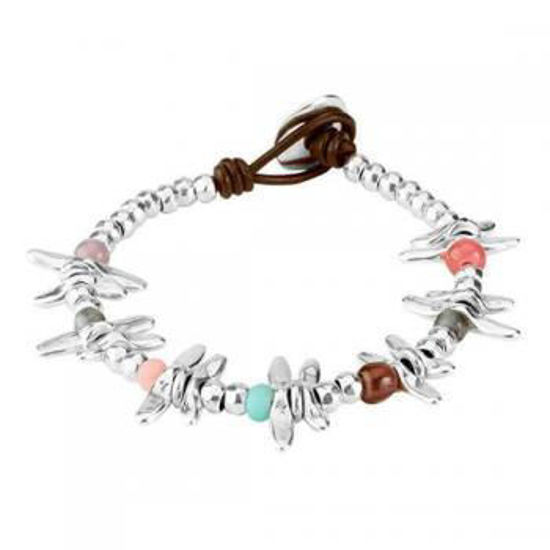Picture of Leather bracelet with multicolor beads, crystals and charms