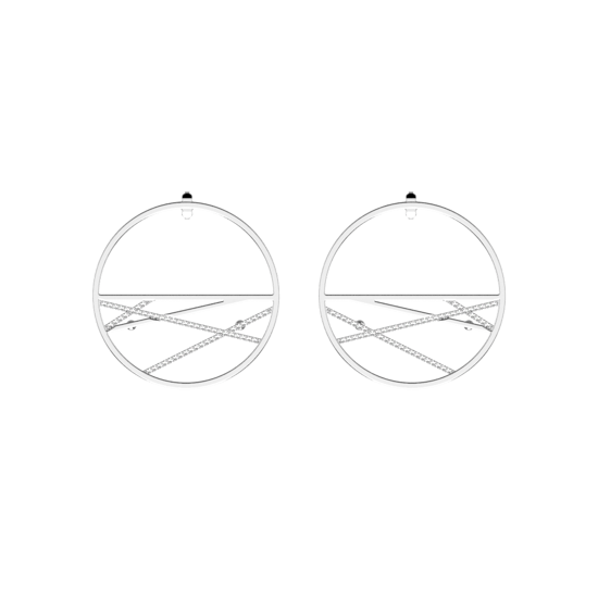 Picture of Liens Hoop 43 mm Earrings Silver finish