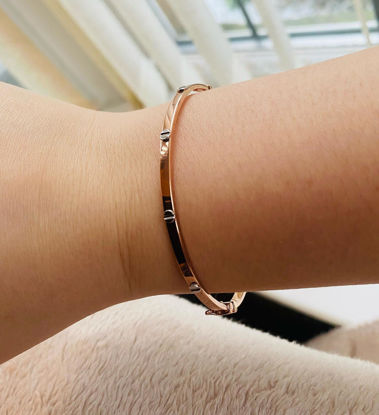 Picture of Rose Gold Bangle with White Gold Screw Design