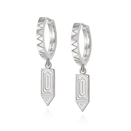 Picture of Artisan Drop Huggie Earrings in Sterling Silver