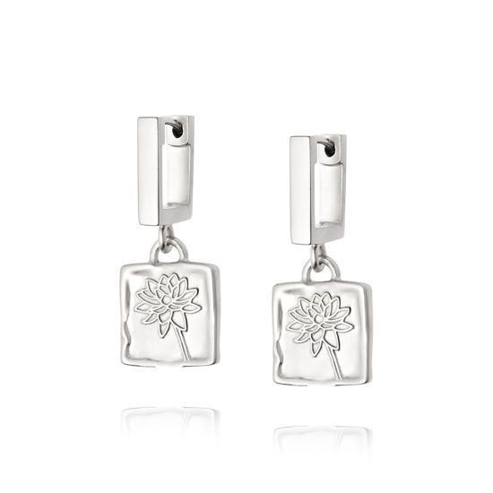Picture of Floriography Water Lily Drop Earrings Sterling Silver
