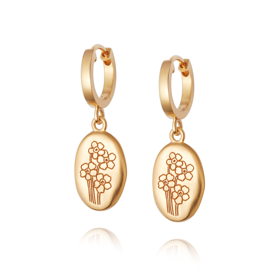Picture of Floriography Forget Me Not Drop Earrings 18ct Gold Plate