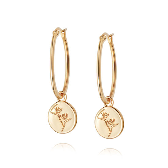 Picture of Floriography Bird Of Paradise Drop Earrings 18ct Gold Plate