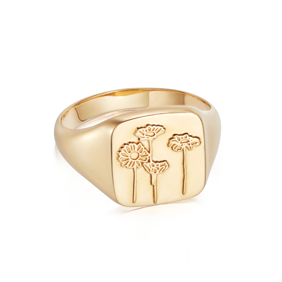 Picture of Floriography Wild Daisies Signet Ring 18ct Gold Plate