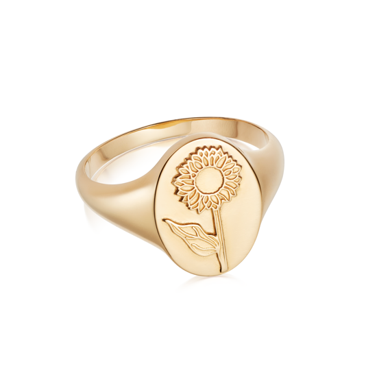 Picture of Floriography Sunflower Signet Ring 18ct Gold Plate