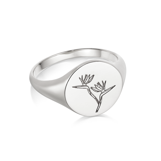 Picture of Floriography Bird Of Paradise Signet Ring Sterling Silver