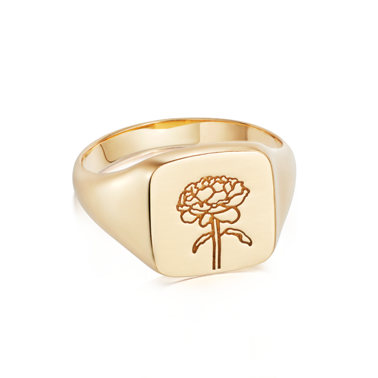 Picture of Floriography Rose Signet Ring 18ct Gold Plate