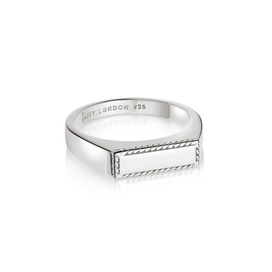 Picture of Stacked Rope Signet Ring Sterling Silver