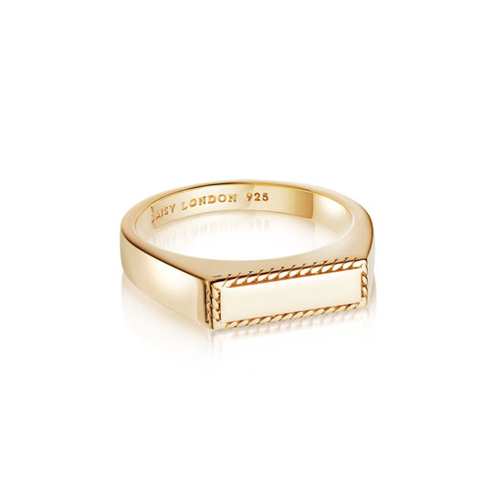 Picture of Stacked Rope Signet Ring 18Ct Gold Plate