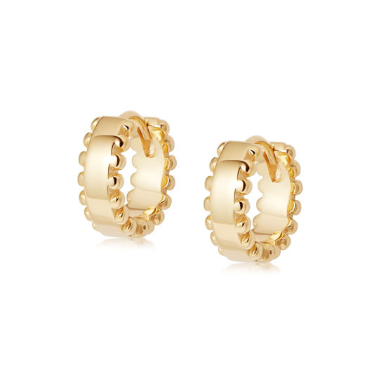 Picture of Stacked Beaded Huggie Hoop Earrings 18Ct Gold Plate